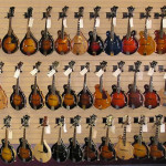 A wall of mandolins (click to view full size)
