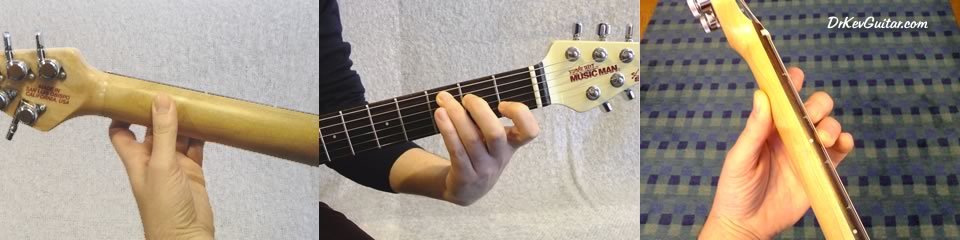 Classical thumb position - the thumb is parallele to the frets and fingers and placed in the centre of the back of the neck