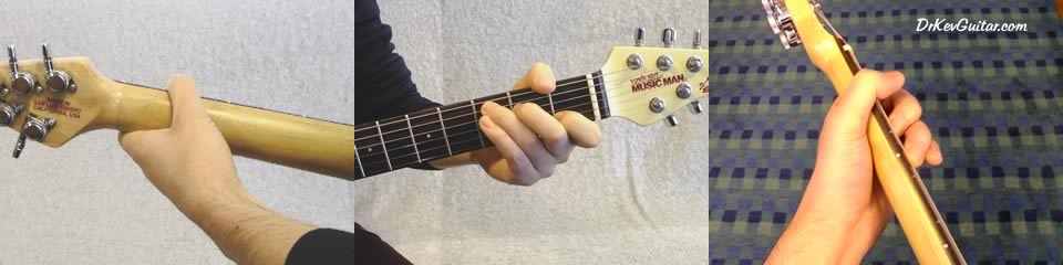 Folk/rock thumb position - the thumb rests on the top edge of the neck (click to enlarge photo).